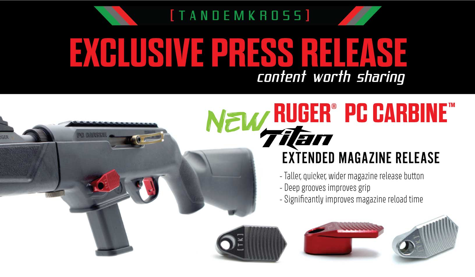 "NEW  ""Titan"" Extended Magazine Release for Ruger® PC Carbine™ by TANDEMKROSS"