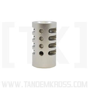 """Game Changer"" Compensator for Ruger Mark III 22/45, MKIV 22/45, Browning Buck Mark, SW22 Victory and SR22 by TANDEMKROSS - Silver"